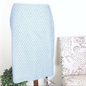 Talbots Blue White Triangle Pencil Skirt Size 4